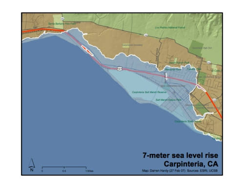 Carpinteria 7 meter sea level rise map