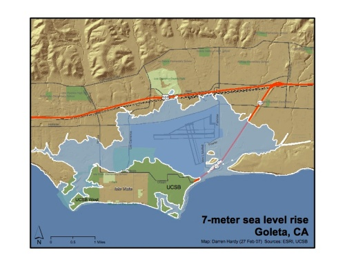 Goleta 7 meter sea-level rise map
