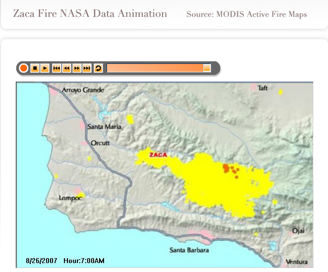 Nasa Access Dial Project Technology Real Time Zaca Fire Animation