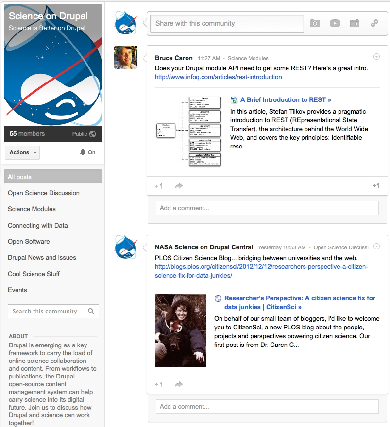 Science on Drupal Google+ Community